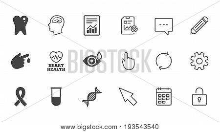 Medicine, medical health and diagnosis icons. Blood test, dna and neurology signs. Tooth, report symbols. Chat, Report and Calendar line signs. Service, Pencil and Locker icons. Vector