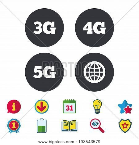 Mobile telecommunications icons. 3G, 4G and 5G technology symbols. World globe sign. Calendar, Information and Download signs. Stars, Award and Book icons. Light bulb, Shield and Search. Vector