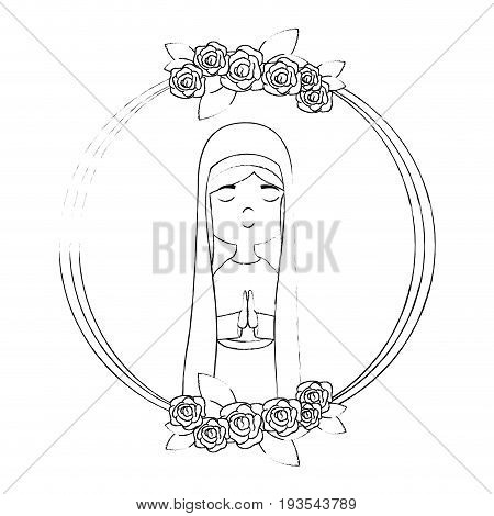 frame with virgin mary icon over white background vector illustration