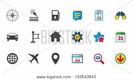 Navigation, gps icons. Windrose, compass and map pointer signs. Car, airplane and flag symbols. Calendar, Report and Download signs. Stars, Service and Search icons. Statistics, Binoculars and Chat