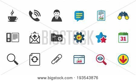 Office, documents and business icons. Coffee, phone call and businessman signs. Safety pin, magnifier and mail symbols. Calendar, Report and Download signs. Stars, Service and Search icons. Vector