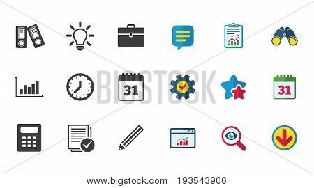 Office, documents and business icons. Accounting, calculator and case signs. Ideas, calendar and statistics symbols. Calendar, Report and Download signs. Stars, Service and Search icons. Vector