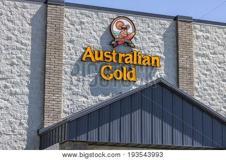Indianapolis - Circa July 2017: Australian Gold Headquarters. Australian Gold manufactures sun tanning and sun protection products I