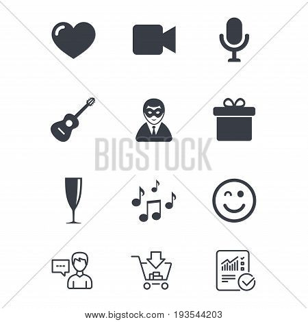 Party celebration, birthday icons. Carnival, guitar and champagne glass signs. Gift box, music and video camera symbols. Customer service, Shopping cart and Report line signs. Vector