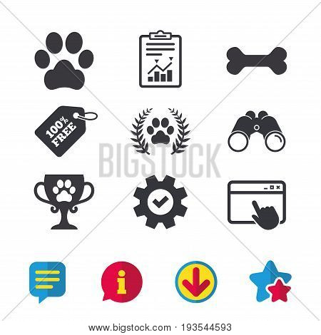 Pets icons. Dog paw sign. Winner laurel wreath and cup symbol. Pets food. Browser window, Report and Service signs. Binoculars, Information and Download icons. Stars and Chat. Vector