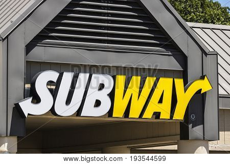 Indianapolis - Circa July 2017: Subway Sandwich Location. Subway is the World's Largest Submarine Sandwich Chain VI