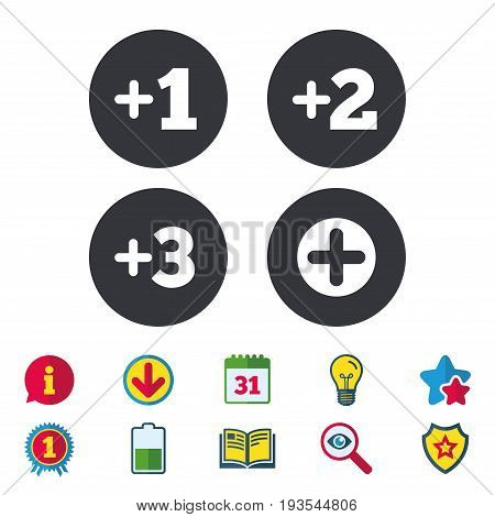 Plus icons. Positive symbol. Add one, two, three and four more sign. Calendar, Information and Download signs. Stars, Award and Book icons. Light bulb, Shield and Search. Vector