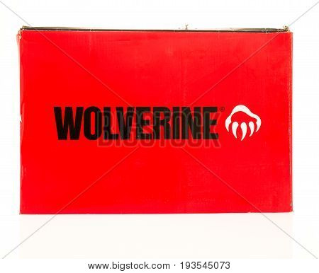 Winneconne WI - 26 June 2017: A shoebox featuring Wolverine on an isolated background.