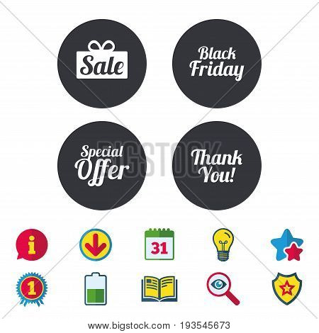 Sale icons. Special offer and thank you symbols. Gift box sign. Calendar, Information and Download signs. Stars, Award and Book icons. Light bulb, Shield and Search. Vector