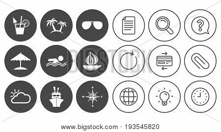 Cruise trip, ship and yacht icons. Travel, cocktails and palm trees signs. Sunglasses, windrose and swimming symbols. Document, Globe and Clock line signs. Lamp, Magnifier and Paper clip icons