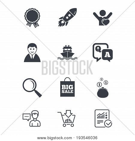 Online shopping, e-commerce and business icons. Startup, award and customers like signs. Cash money, shipment and sale symbols. Customer service, Shopping cart and Report line signs. Vector