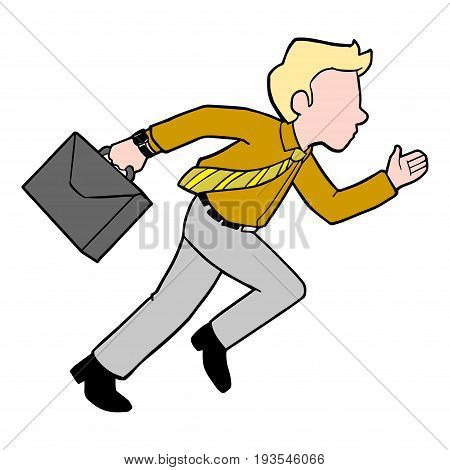 Illustration of cartoon of Businessman running for success