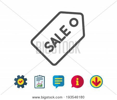 Shopping tag line icon. Sale Special offer sign. Coupon symbol. Report, Service and Information line signs. Download, Speech bubble icons. Editable stroke. Vector