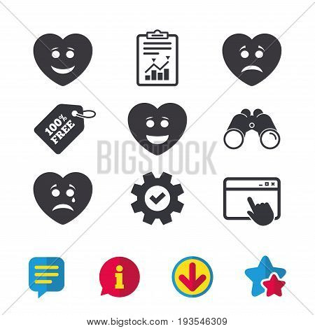 Heart smile face icons. Happy, sad, cry signs. Happy smiley chat symbol. Sadness depression and crying signs. Browser window, Report and Service signs. Binoculars, Information and Download icons