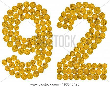Arabic Numeral 92, Ninety Two, From Yellow Flowers Of Tansy, Isolated On White Background