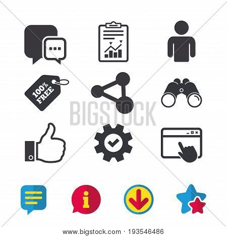 Social media icons. Chat speech bubble and Share link symbols. Like thumb up finger sign. Human person profile. Browser window, Report and Service signs. Binoculars, Information and Download icons