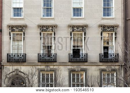 A view of the windows of Boston City