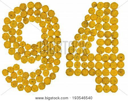 Arabic Numeral 94, Ninety Four, From Yellow Flowers Of Tansy, Isolated On White Background