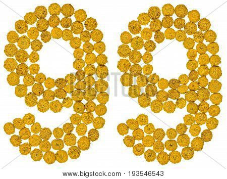 Arabic Numeral 99, Ninety Nine, From Yellow Flowers Of Tansy, Isolated On White Background