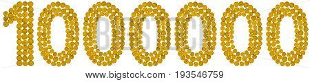 Arabic Numeral 1000000, One Million, From Yellow Flowers Of Tansy, Isolated On White Background