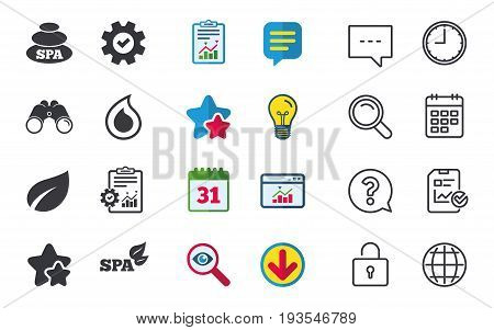 Spa stones icons. Water drop with leaf symbols. Natural tear sign. Chat, Report and Calendar signs. Stars, Statistics and Download icons. Question, Clock and Globe. Vector