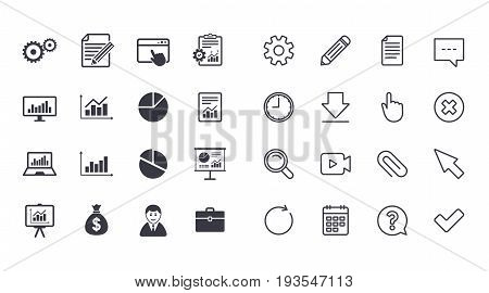 Set of Statistics, Accounting and Report icons. Charts, Presentation and Pie-chart signs. Analysis, Money bag and Business case symbols. Calendar, Document and Download line signs. Vector