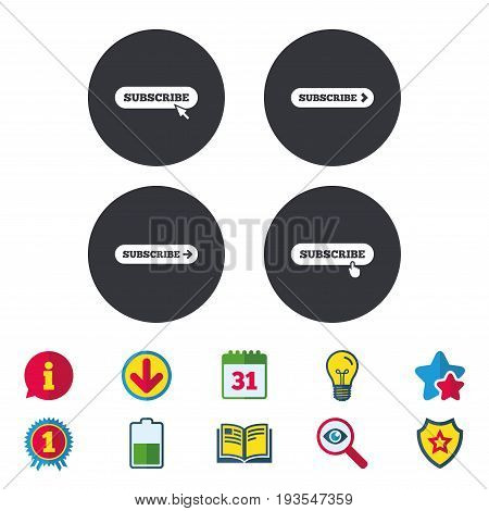 Subscribe icons. Membership signs with arrow or hand pointer symbols. Website navigation. Calendar, Information and Download signs. Stars, Award and Book icons. Light bulb, Shield and Search. Vector