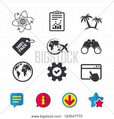 Travel trip icon. Airplane, world globe symbols. Palm tree sign. Travel round the world. Browser window, Report and Service signs. Binoculars, Information and Download icons. Stars and Chat. Vector