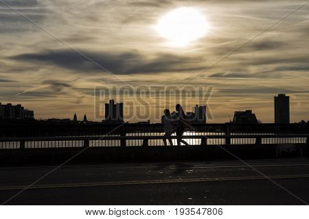 A Sunset viewing from Memorial bridge in Boston, Massachusetts