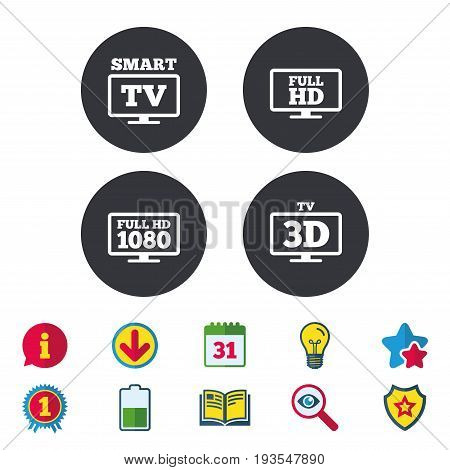 Smart TV mode icon. Widescreen symbol. Full hd 1080p resolution. 3D Television sign. Calendar, Information and Download signs. Stars, Award and Book icons. Light bulb, Shield and Search. Vector