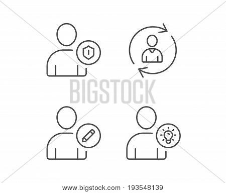 User, Edit profile and Security line icons. Businessman with idea symbols. Quality design elements. Editable stroke. Vector