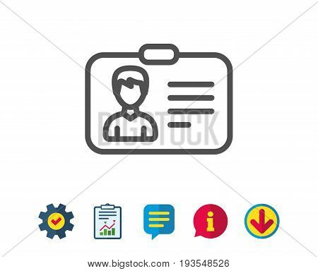 ID card line icon. User Profile sign. Male Person silhouette symbol. Identification plastic card. Report, Service and Information line signs. Download, Speech bubble icons. Editable stroke. Vector