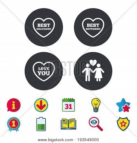 Valentine day love icons. Best girlfriend and boyfriend symbol. Couple lovers sign. Calendar, Information and Download signs. Stars, Award and Book icons. Light bulb, Shield and Search. Vector
