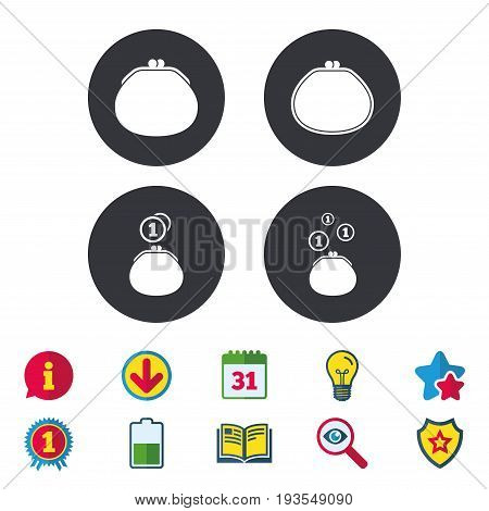 Wallet with coins icons. Cash bag signs. Retro wealth symbol. Calendar, Information and Download signs. Stars, Award and Book icons. Light bulb, Shield and Search. Vector