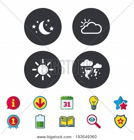 Weather icons. Moon and stars night. Cloud and sun signs. Storm or thunderstorm with lightning symbol. Calendar, Information and Download signs. Stars, Award and Book icons. Vector
