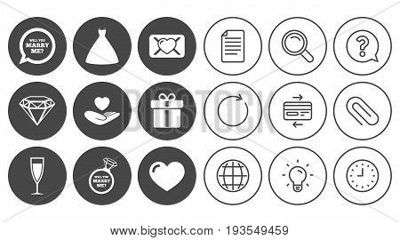 Wedding, engagement icons. Love oath letter, gift box and brilliant signs. Dress, heart and champagne glass symbols. Document, Globe and Clock line signs. Lamp, Magnifier and Paper clip icons. Vector