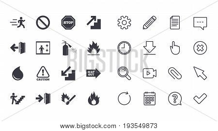 Set of Emergency, Fire safety and Protection icons. Extinguisher, Exit and Attention signs. Caution, Water drop and Way out symbols. Calendar, Document and Download line signs. Vector