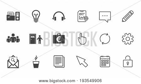 Office, documents and business icons. Accounting, human resources and group signs. Mail, ideas and money case symbols. Chat, Report and Calendar line signs. Service, Pencil and Locker icons. Vector
