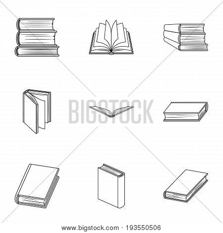 A set of pictures with books. Books, notebooks, studies. Books icon in set collection on outline style vector symbol stock web illustration.