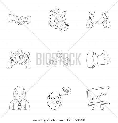 A set of pictures about the transaction, work, office. Office center, analytics.Business conference and ntgotiations icon in set collection on outline style vector symbol stock .