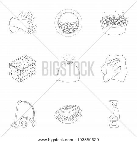 Cleaning, washing and everything connected with it. A set of icons for cleaning. Cleaning and maid icon in set collection on outline style vector symbol stock web illustration.