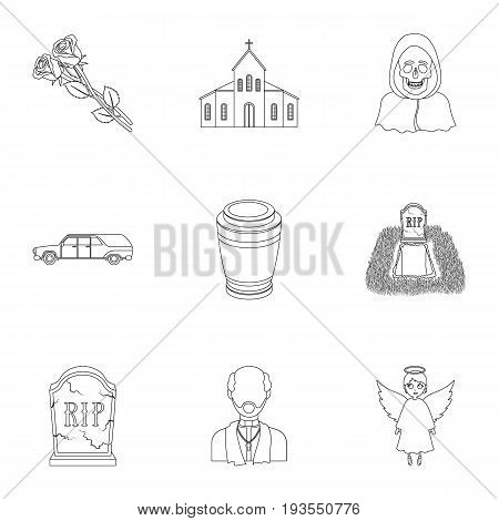 Funeral ceremony, cemetery, coffins, priest.Funeral ceremony icon in set collection on outline style vector symbol stock web illustration.