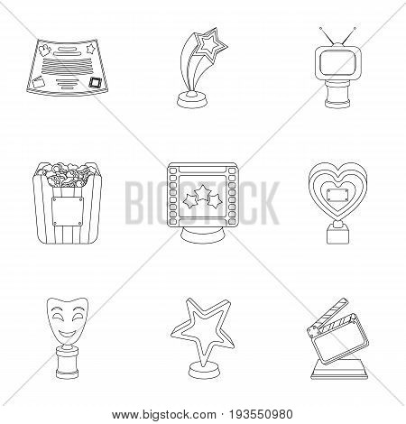 A set of awards for the movie viewings. Gold, silver and bronze awards to the Director, the actor. Moovie awards icon in set collection on outline style vector symbol stock web illustration.