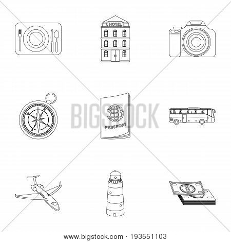 Set of icons on the theme of rest. Travel abroad. Rest ang travel icon in set collection on outline style vector symbol stock web illustration.