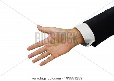 Men in suit with open handshake isolated on white