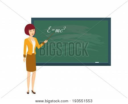 Modern teaching and education system. Woman in physics class, with pointer in hand, near board in classroom. Teacher explains material and points to board. Illustration, people in cartoon style.