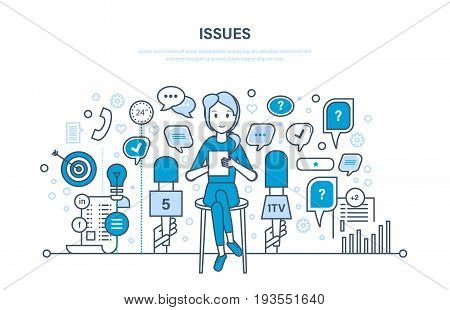 Questions and interviews, issues, communication technology, information exchange. Dialog speech bubbles. Illustration thin line design of vector doodles, infographics elements.