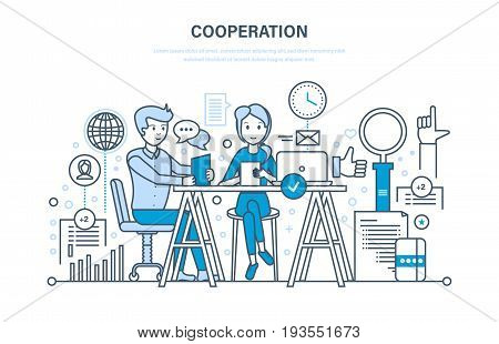 Concept of cooperation, collaboration, partnerships, teamwork, sales, marketing and integrated approach to discussion of issues and common issues. Illustration thin line design of vector doodles.