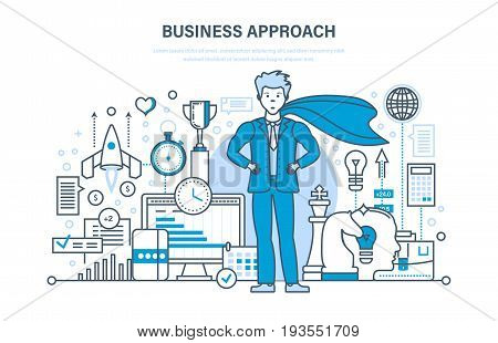 Business approach and project, control and time management, success in business, marketing, statistics, analysis, market research, start-up. Illustration thin line design of vector doodles