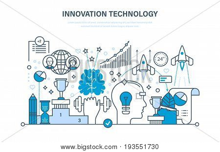Innovation technology. Creative thinking and process, business systems development, planning strategy and marketing strategy. Illustration thin line design of vector doodles, infographics elements.